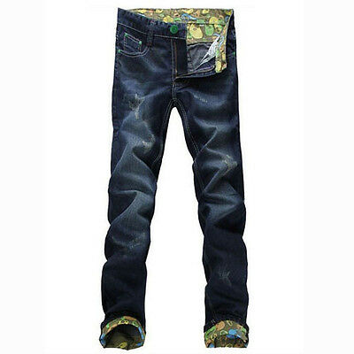 Classic Men Stylish Designed Straight Slim Fit Trousers Casual Jeans Pants P064
