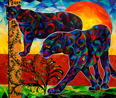 PRIMAL DANCE 8x10 Unique Black Panther Art Print by Sherry Shipley