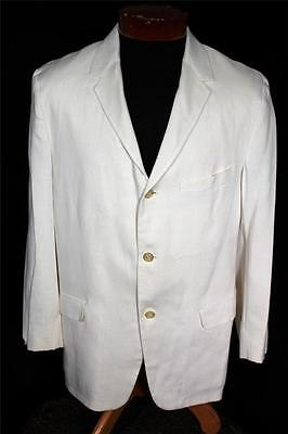 Rare Classic Vintage 3 Button 1950'S White  Rayon Linen Summer Jacket Size 40R