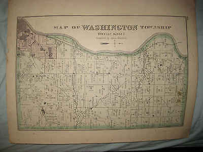ANTIQUE 1875 WASHINGTON FALLS TOWNSHIP ZANESVILLE MUSKINGUM COUNTY OHIO MAP NR