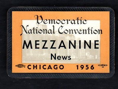 1956 Democratic Convention Press Credentials Badge