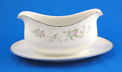 Carlton - Japan CORSAGE Gravy Boat with Attached Underplate 9.375 in. Pink Blue
