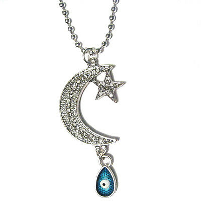"Teardrop Evil Eye with Crescent Moon Crystal Pendant Silver Plated 24"" Necklace"