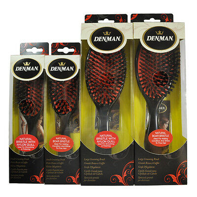 Denman Grooming Brush Natural Boar Bristle Ideal for Smoothing and Grooming