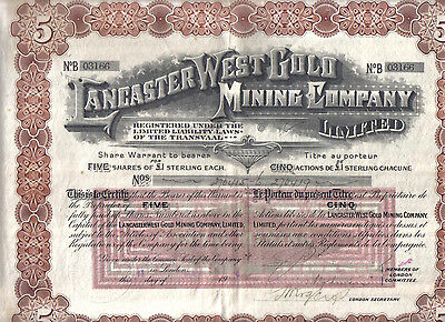 South Africa 1910 Lancaster West Gold Mining Co 5 shares £5 Uncancelled coupons