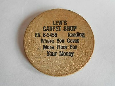 Vintage Lew's Carpet Shop Reading PA Advertising Wooden Nickel