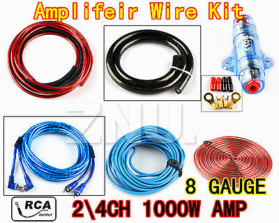 8 GA 2 4CH Amplifeir AMP Subwoofer Complete Wire Wiring  Kit Cable 1000W