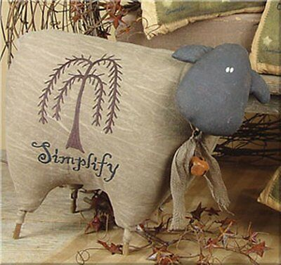 """Brown Fabric Primitive Sheep Embroidery Willow Tree Simplify Shelf Sitter 17""""l"""