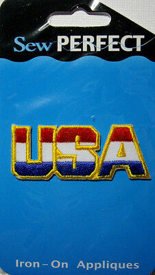 NEW 1 pc USA  Iron-On Embroidered  Applique - America Red White Blue SEW PERFECT