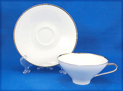 Saladmaster SPLENDOR Flat Cup and Saucer Set 2 in. White Platinum Trim Coupe