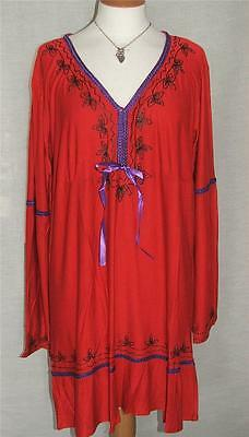 NEW Eaonplus ANTIQUE-RED Embroidered Sleeveless Duster Jacket Sizes 18 to 32