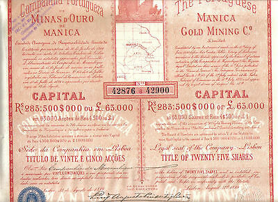 Africa Mozambique Portugal 1899 Manica Gold Mining Co £25 share Deco Uncancelled