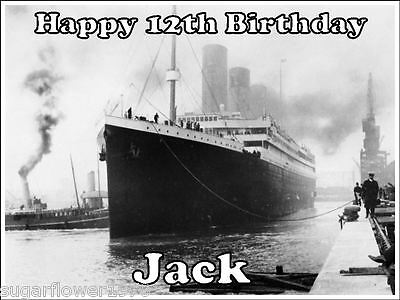 Personalised Titanic Ship Edible Icing Birthday Cake Topper A4