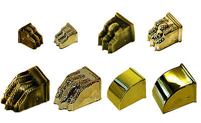 Polished Stamped Brass Furniture Leg End Caps, Toe Caps, Plain or Lion Claw