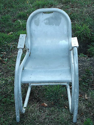 A Unusual Vintage  Industrial  Aluminium Chair Maybe Out Of A Small Plane?