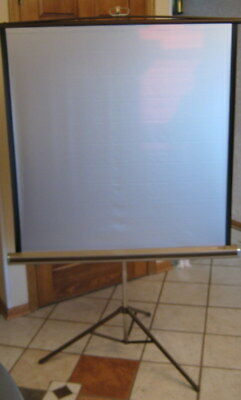 "Vintage 40"" DA-Lite Silver Pacer Extendable Movie Camera Slide Projection Screen"