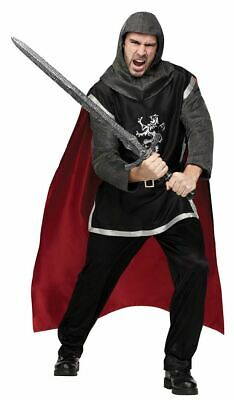 65375126e9376 Deluxe Medieval Knight Adult Fancy Dress Costume Tunic Chain Mail Cape