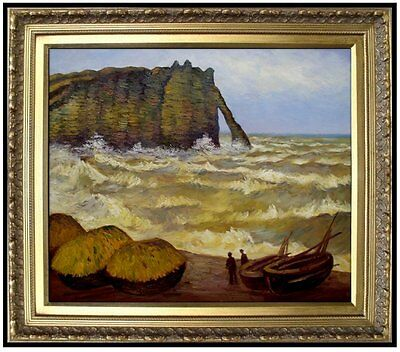 Framed, Claude Monet Etretat, Rough Sea Repro, Hand Painted Oil Painting 20x24in