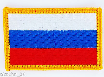 Patch Ecusson Brode Drapeau Russie Insigne Thermocollant Neuf Flag Patche