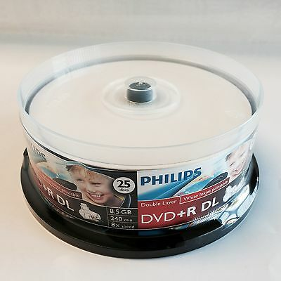 300 PHILIPS White Inkjet Printable DVD+R DL Dual Double Layer 8X 8.5GB Disc