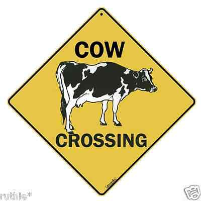 "Cow Metal Crossing Sign 16 1/2"" x 16 1/2"" Diamond shape Made in USA #49"