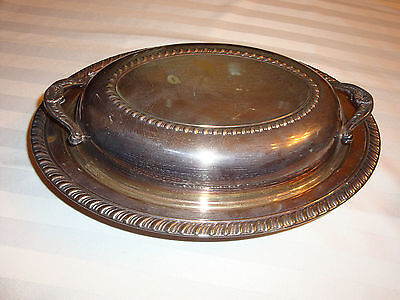 SILVERPLATED OVAL COVERED VEGETABLE SERVING BOWL/ DISH  WITH LID