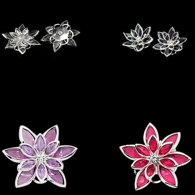 10PCs Hot Flower Embellishment Findings Rhinestone Silver Plated 3.5x3cm M1333