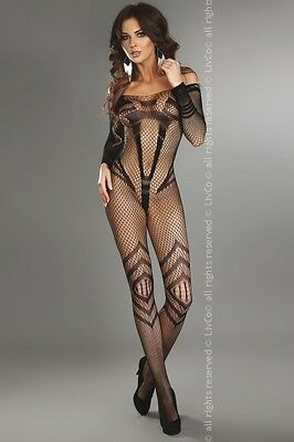 Sexy LivCo Netz Catsuit Siriana Schwarz S-L Body Stocking Fishnet Reizwäsche Hot