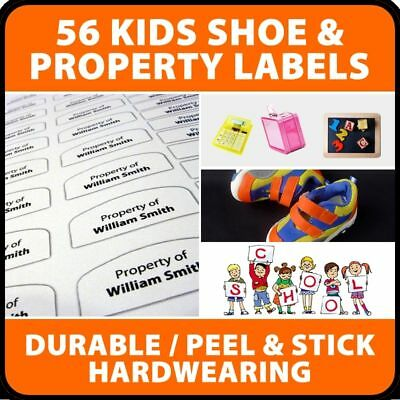 56 x Peel and stick Kids Shoe & Property school Name labels Identify their kit