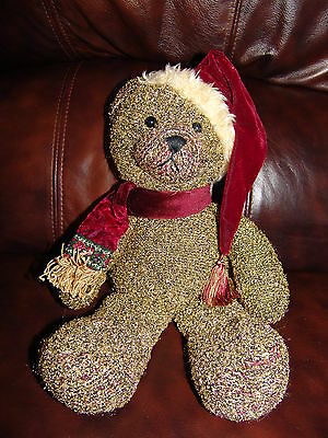 """Russ Berrie & Company Shimmers the Christmas Bear w/ Hat & Scarf Plush Doll 14"""""""
