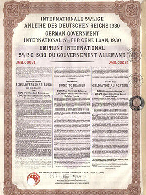 Original Germany issue External Loan 1930 Bond 1000 RM Young