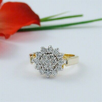 1 Carat Cz Cubic Zirconia Cluster Cocktail Gold Ep Ring Size 5 6 7 8 9