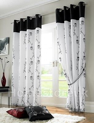Tahiti Black White Lined Curtain Ready Made Eyelet Ring Top Net Voile Window