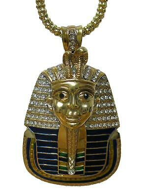 24k Gold Plated Tutankhamun Egyptian Colour Pendant hiphop bling chain