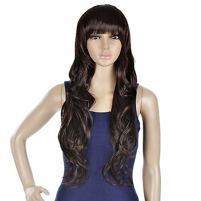 New style Fashion Long Curly Cosplay women's Girl Hair Full Wig Free