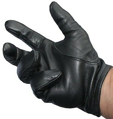 Police tactical leather gloves black