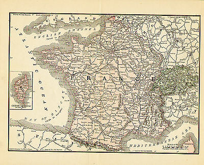 1890 Color Map of FRANCE & SWITZERLAND- Inset of Corsica