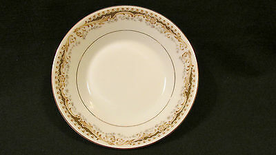 Queen Anne China Dessert Fruit Bowl Signature Collection Tan Scrolls Gray Leaves