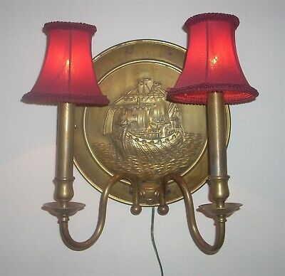 "Antique 12"" Diameter Brass Ship Motif Wall Lamp with 2 Sconces & Red Shades"