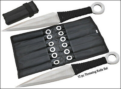 NEW Throwing Knives & Case 12pc Silver Knife Set Naruto Spikes