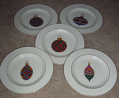 GIBSON CHINA ORNAMENTS LOT OF 5 SALAD PLATES RED BLUE GREEN PURPLE ORNAMENTS