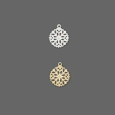 Lot of 100 Plated Brass Metal 13mm Round Filigree Snowflake Snow Flake Charms