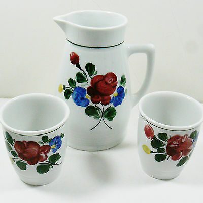 VTG LILIEN PORZELLAN AUSTRIA 3 PC SET PORCELAIN PITCHER CUPS GLASSES HANDPAINTED