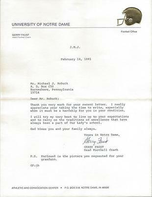 Coach Gerry Faust Signed 1981 Typed Letter Notre Dame