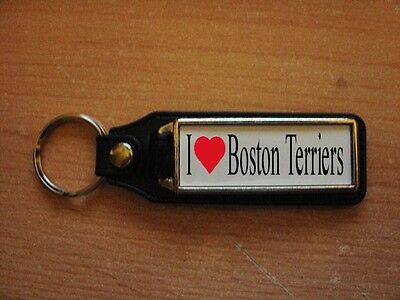 I Love Boston Terrier Leather Style Keyring