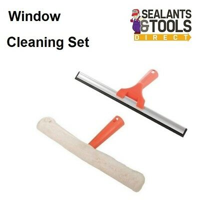 Window Glass Cleaner Scrubber Mop Frame & Sleeve 350mm Squeegee 300mm Set