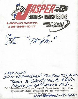 Stan The Fan Charles Signed NASCAR Page