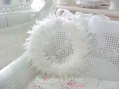 SHABBY WHITE CHIC FEATHER CRYSTAL ORGANZA RIBBON WREATH CHRISTMAS HOLIDAY