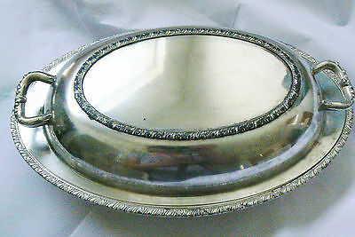 Vintage Berwick Roger 7990 2 Pc Covered Dish Silver Plate Oval Serving