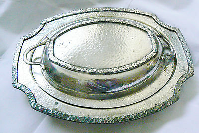 Vintage Sp Lsw Ns Hammered 2 Pc Covered Dish Silver Plate Oval Serving